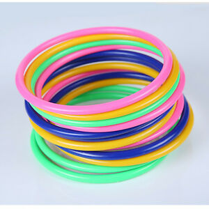 10 Pcs Colorful Hoopla Ring Toss Cast Circle Sets  Educational Toy Puzzle ;ZT
