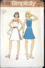 SIMPLICITY Pattern 6981 Retro Inverted Pleat Dress Sz 12 Uncut Factory Folded