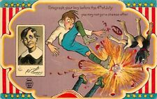 Embossd Postcard Fourth of July Ser.1 1098 Fotograph yr Boy Before the Fireworks