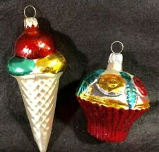 Vintage West German Mercury Glass Cupcake & Ice Cream Cone Christmas Ornaments