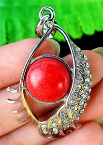 46x27x7mm Carved Eye Alloy Insert Red Turquoise Round Pendant Bead BT87357