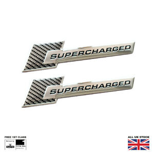 Supercharged Wing Badges For Audi A4 A5 S4 S5 R8 Q7 SQ5 SQ7 SQ8 Carbon Effect