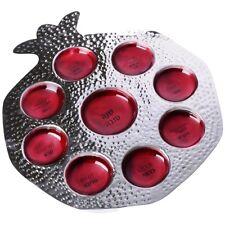 Judaica Rosh Hashanah Seder Plate Pomegranate Shape Dark Red