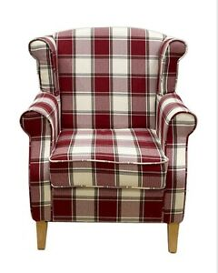 Wing Back Chair Armchair Occasional Accent Chair Check Grey Red Living Room