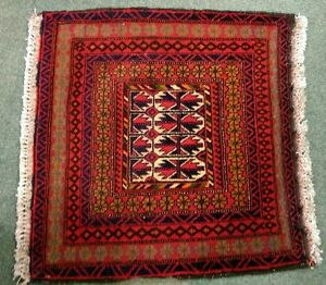 Vintage Hand knotted Turkmen Small Mat c.1950