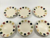 "6 (SIX) Pier 1 Dots Official  Hand Painted Stoneware Dinnerware 11"" deep plates"