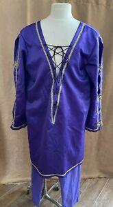L Men Pirate Medieval costume tunic shirt custom short purple pants fairy tale