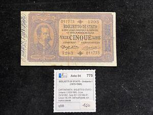 BANCONOTA 5 LIRE BIGLIETTO DI STATO EFFIGE UMBERTO I 25/10/1892 - REGNO ITALIA