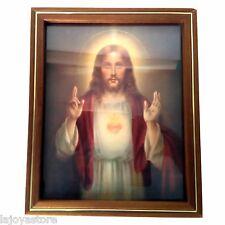 Vintage 1936 Lithograph Religious Print Sacred Heart Jesus Edward O'Toole Framed