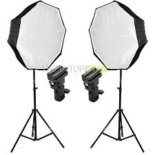 2X Photo Flash 80cm Octagon Umbrella Reflect Diffuse & Light Stand & Flash Mount