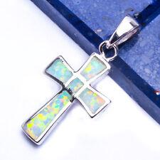 """CUTE White Australian Opal Cross .925 Sterling Silver Pendant 1"""""""