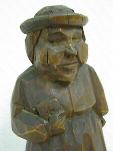Old Carving Monk Pastor Signed From 1937 Antique
