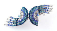 NEW LARGE BLUE CLEAR SPARKLING CRYSTAL FASHION HAIR BARRETTE CLIP