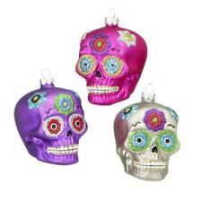 "SET OF 3 SKULL CHRISTMAS ORNAMENTS 3"" Glass Day of the Dead Purple Pink Silver"