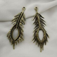 12pcs Antique Style Bronze Tone Alloy Cute Peacock Feather Pendant Charm 67mm