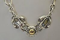 Barry Kieselstein Cord Frog Choker Necklace 14K Gold & Sterling Silver
