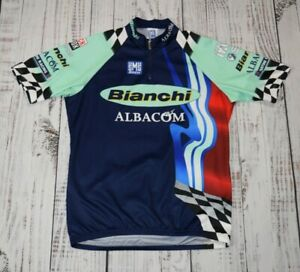 PERFECT SMS SANTINI Short Sleeved BIANCHI Full Zip Cycling Jersey Sz XL Italy