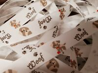 Woof Puppy Dog Ribbon Width 15mm by Berisfords for Habicraft  Various Lengths