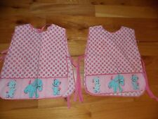 Cat Child Apron Smock Vintage Dog Teddy Bear Pink Adorable Pair! Clothing