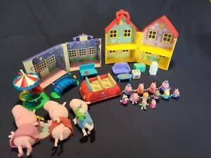 Peppa Pig Lot: Deluxe House School House Talking Car Fair Figures Plush