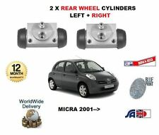 FOR NISSAN MICRA K11 1.2 2002-2010 NEW 2 X REAR BRAKE WHEEL CYLINDERS
