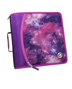 "Case It Case-it Mighty Zip Tab 3"" 3-Ring Zipper Binder Galaxy Pink shoulder stap"