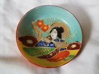 Vintage Takito Japanese Miniature Geisha bowl, hand painted, light blue, 1920's
