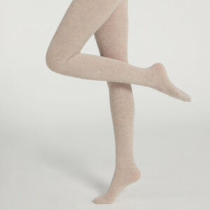 Womens Warm Thermal Soft 45% Cashmere Wool Beige Tights