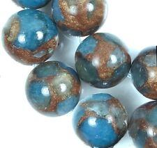 12mm Aquamarine Quartz with Pyrite / Gold Vein Round Beads (16)