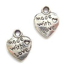 40 plata tibetana hecha con amor corazón encantos colgante