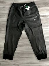 LRG (Lifted Research Gear) LEATHER CUFFED JOGGER PANTS BLK MEN SZ LARGE (36x30)