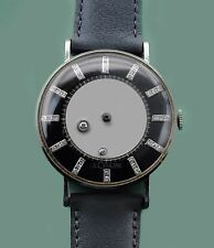 Vintage 1940s Diamond Tutone Dial Mystery Le Coultre Vacheron 14k Mens Watch