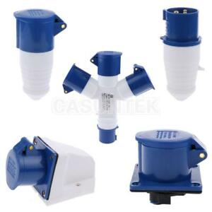 16 Amp Plug Socket Adapter 240V 3 Pin Waterrproof Electrical Connector