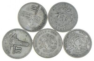 Lot of 5 Guatemala 10 Centavos 1960 1957 1958 1960 1924 Silver Coin Lot *509