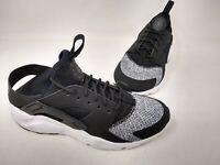 NEW! Nike Youth Boy's Huarache Edge Lace Up Shoes Black/Gray #942121-001 160R tc