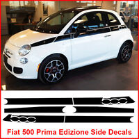 Fiat 500 Prima Edizione Side Racing Stripes Decals Sticker Graphics Matt Black