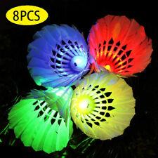 8 PACK LED Shuttlecock Badminton Balls Set Dark Night Glow Birdies Lighting Gift