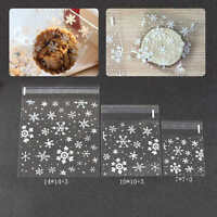 100pcs Xmas Cellophane Candy Gift Bags Snowflakes Cello Cookies Merry Christmas