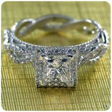 Diamond Halo Engagement Wedding Ring Women's 14K White Gold Over Princess Cut
