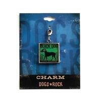 Dogs Rock Black Dog Charm with Lobster Clasp - Double-Sided