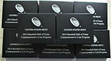 LOT OF 8- 2014 BASEBALLHALL OF FAME PROOF HALF DOLLAR BOXES. (NO COINS). W/ COA.