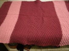 Vintage Hand Crochet Afghan Throw 38x52 Mauve (RE7)