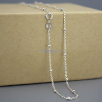 Real 925 Sterling Silver CURB Chain W/ Bead 16-28 Inches Necklace Stamped Italy