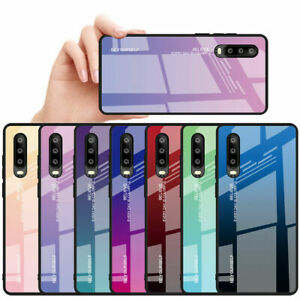 Gradient Tempered Glass Case For Huawei P20 P30 Pro Mate 20 Lite Back Cover
