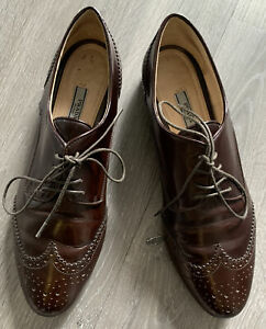 PRADA ITALIAN LEATHER CLASSIC WINGTIPS Brown Oxfords Shoes Sz 38.5