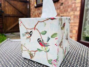 Tissue Box Cover holder Birds wooden decoupaged handmade cube/square robin