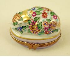 New French Limoges Trinket Box Amazing Colorful Chinoiserie Cat With Gold