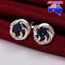 Wholesale 925 Sterling Silver Filled Blue Zircon Crystal Flower Stud Earrings