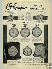 1940 PAPER AD Olympic Chonograph Telemeter tachymeter Racine Doctor Nurse