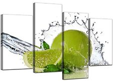 Large Lime Green Kitchen Canvas Wall Art Pictures 130cm XL Prints 4057 Size 130